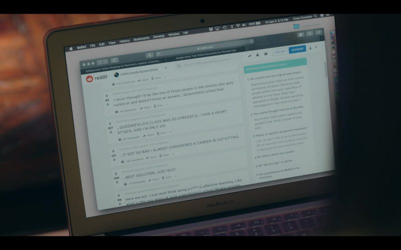 Reddit and MacBook Air in Dear White People