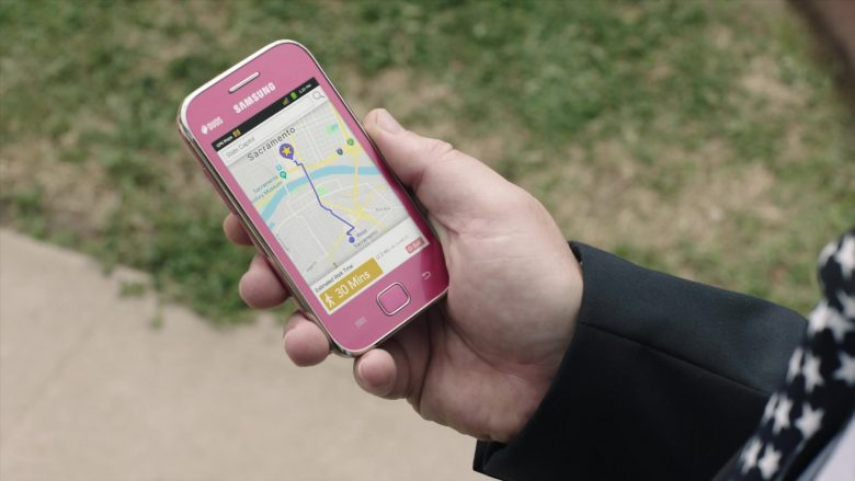 """Samsung Galaxy Duos Pink Mobile Phone Used by Zach Galifianakis in Baskets - Season 4, Episode 9, """"Mrs. Baskets Goes to Sacramento"""" (2019) TV Show"""