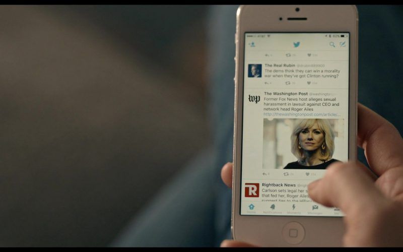 Twitter App and The Washington Post in The Loudest Voice