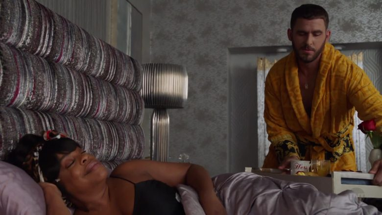 Versace Yellow Bathrobe worn by Jack Kesy as Roller Husser in Claws - Season 3, Episode 10, Finna (2019) - TV Show Product Placement