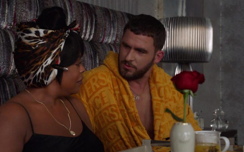 Versace Yellow Bathrobe worn by Jack Kesy as Roller Husser in Claws (7)