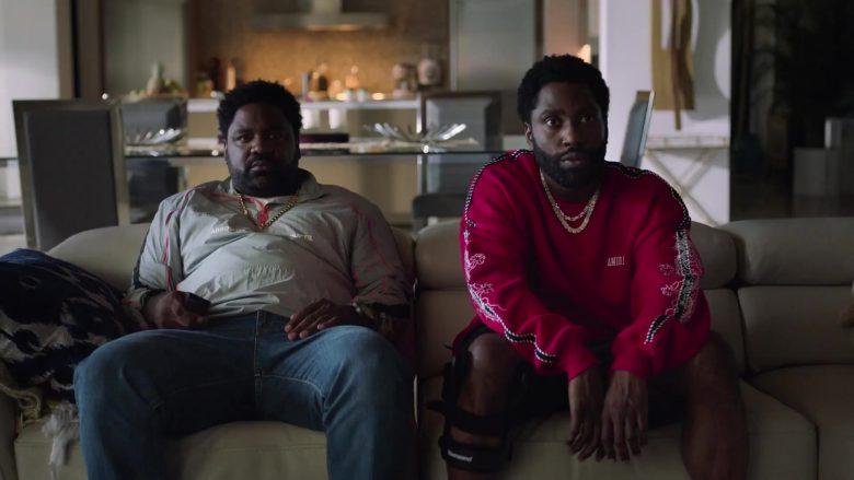 "Amiri Red Sweatshirt Worn by John David Washington as Ricky in Ballers - Season 5, Episode 5, ""Crumbs"" (2019) - TV Show Product Placement"