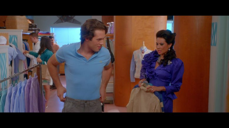 Fred Perry Blue Polo Shirt Worn by Leo Howard as Tommy Harte in Why Women Kill (1)