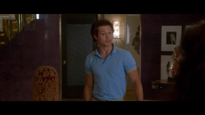 Fred Perry Blue Polo Shirt Worn by Leo Howard as Tommy Harte in Why Women Kill (2)