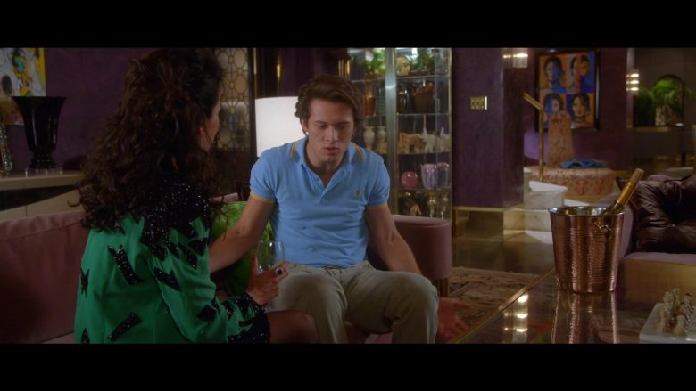 Fred Perry Blue Polo Shirt Worn by Leo Howard as Tommy Harte in Why Women Kill (6)