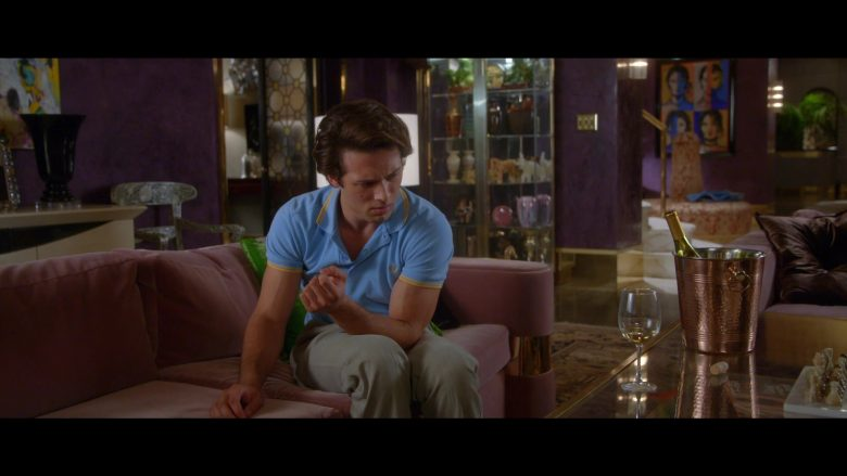 Fred Perry Blue Polo Shirt Worn by Leo Howard as Tommy Harte in Why Women Kill (8)