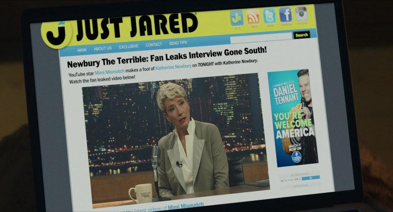 Just Jared Website in Late Night (2019) Movie