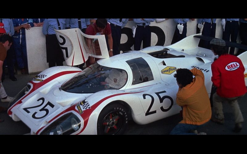 Porsche 917 L [042] White Sports Car and Goodyear, Bell Helmets, Shell, Bosch in Le Mans