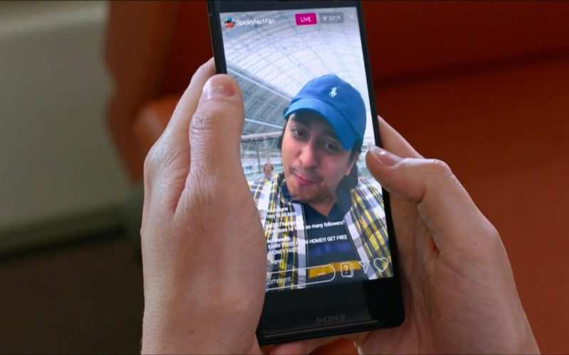 Sony Xperia Smartphone and Ralph Lauren Cap Worn by Tony Revolori in Spider-Man Far From Home (1)