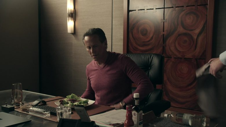 """A1 Sauce and Bolle Water Enjoyed by Steven Weber as Lawrence Budd in Get Shorty Season 3 Episode 2 """"Dark Roast, Oat Milk, Two Splendas"""" (2019) - TV Show Product Placement"""