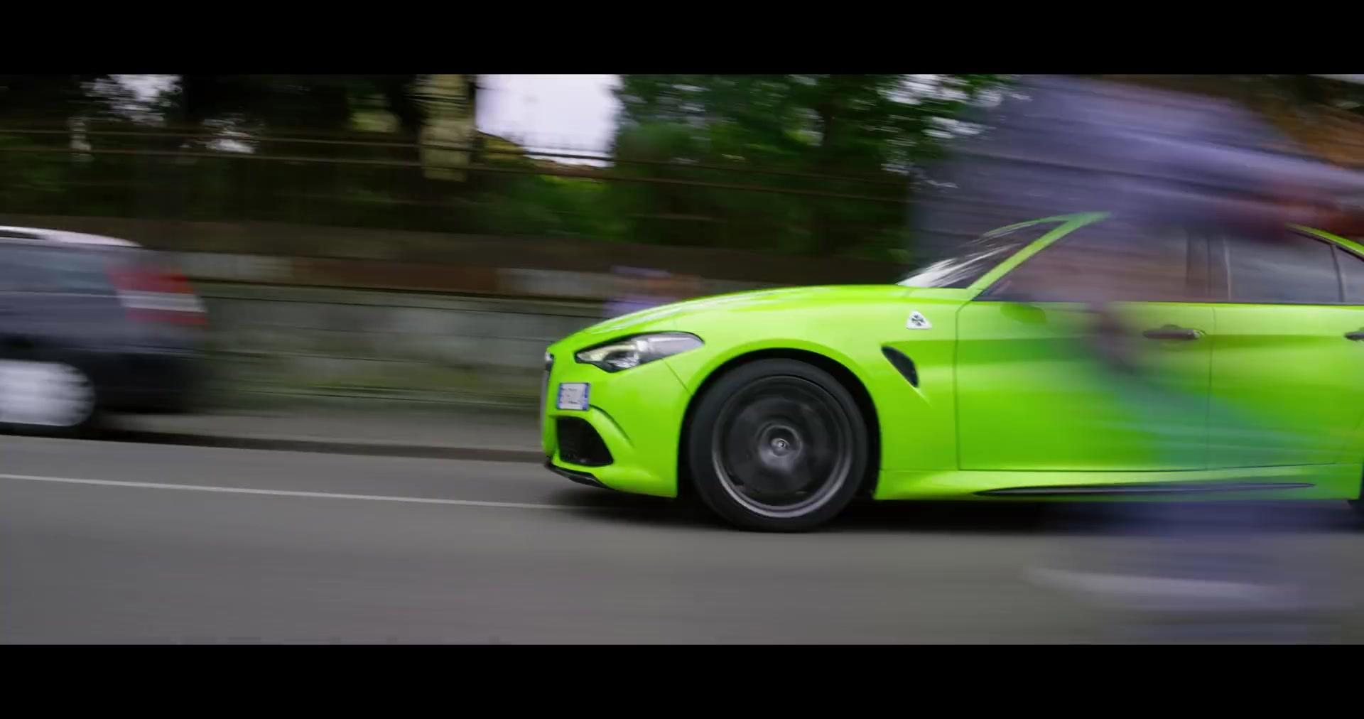Alfa Romeo Giulia Neon Green Sports Car in 6 Underground