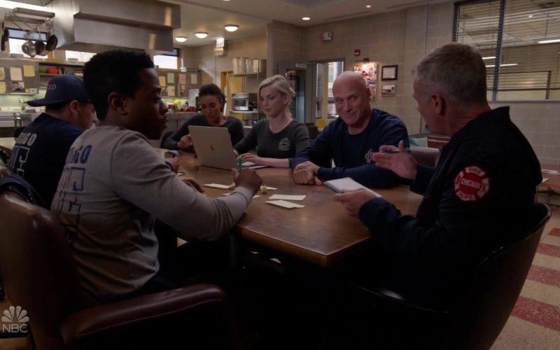 Apple MacBook Laptop Used by Kara Killmer as Paramedic in Charge Sylvie Brett in Chicago Fire Season 8 Episode 5