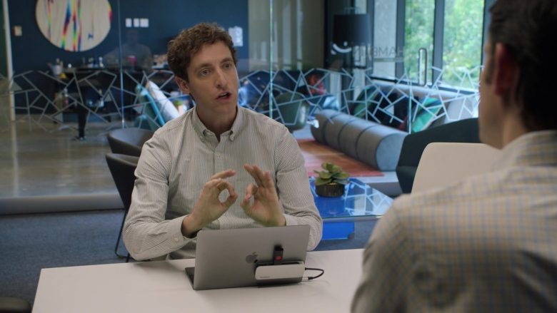 """Apple MacBook Laptop Used by Thomas Middleditch as Richard Hendricks in Silicon Valley Season 6 Episode 1 """"Artificial Lack of Intelligence"""" (2019) - TV Show Product Placement"""