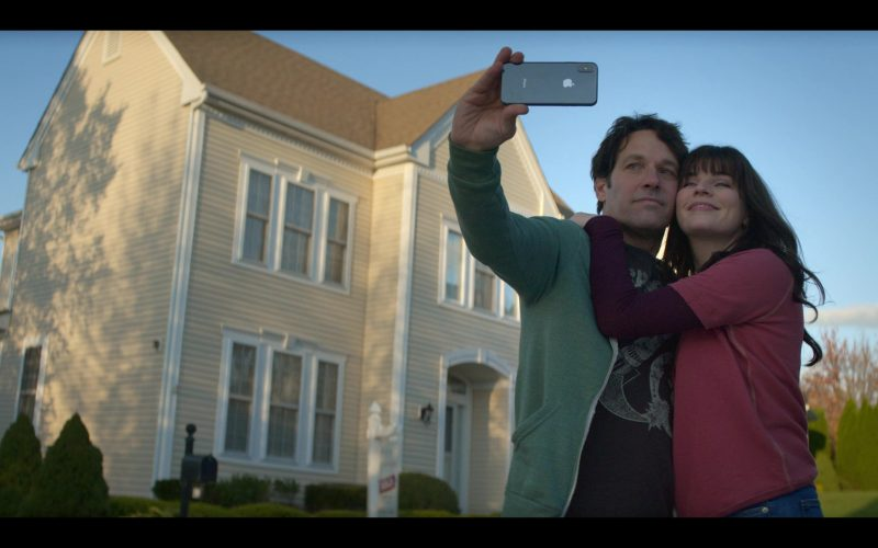 Apple iPhone Smartphone Used by Paul Rudd as Miles Elliot and Aisling Bea as Kate Elliot in Living with Yourself