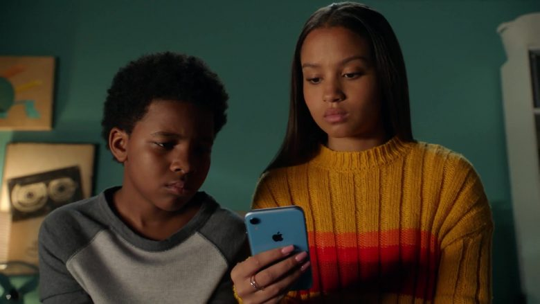 """Apple iPhone XR Blue Mobile Phone Used by Corinne Massiah as May Grant in 9-1-1 Season 3 Episode 5 """"Rage"""" (2)"""