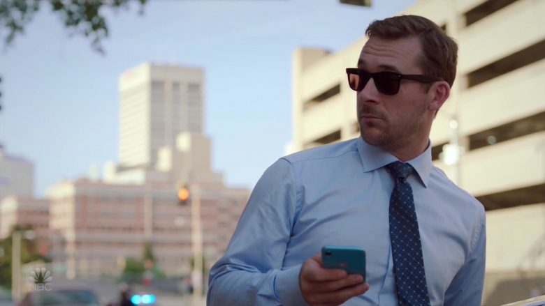 Apple iPhone XR Blue Smartphone Used by Barry Sloane as Jake Reilly in Bluff City Law Season 1 Episode 3 (2019) - TV Show Product Placement