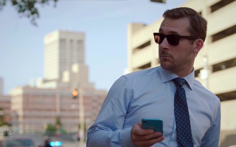 Apple iPhone XR Blue Smartphone Used by Barry Sloane as Jake Reilly in Bluff City Law
