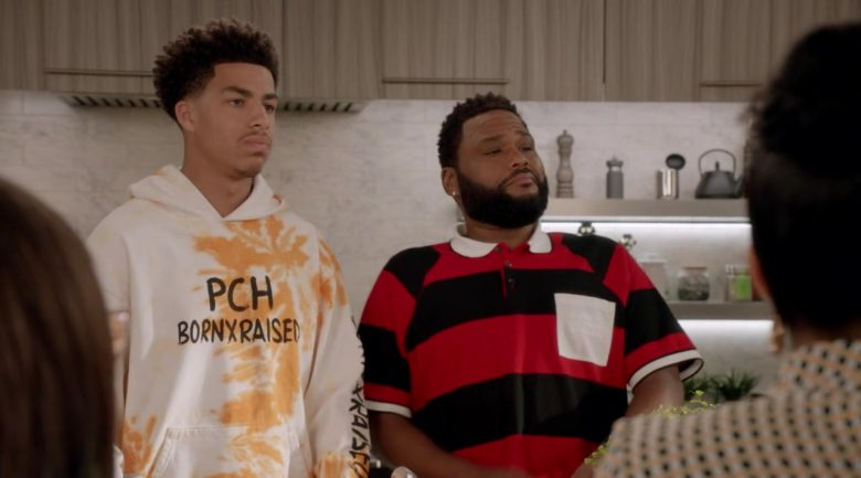 "BornxRaised Hoodie Worn by Marcus Scribner as Andre Johnson Jr. in Black-ish Season 6 Episode 4 ""When I Grow Up (to Be a Man)"" (2019) - TV Show Product Placement"