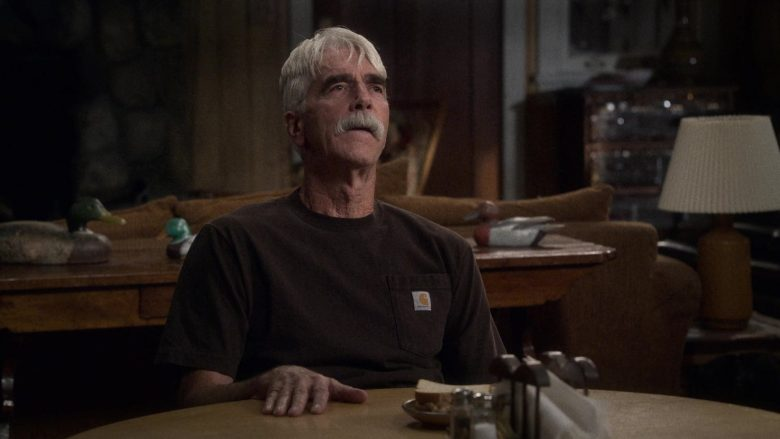 "Carhartt Brown Tee Worn by Sam Elliott as Beau Roosevelt Bennett in The Ranch Season 4 Episode 2 ""I Wish You'd Stay"" (2019) - TV Show Product Placement"