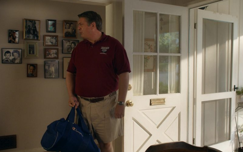 Champion Blue Sports Bag Held by Lance Barber as George Cooper in Young Sheldon