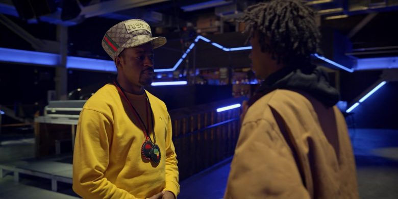"Champion Yellow Sweatshirt and Gucci Hat Worn by Johnell Xavier Young as Gary/Allah Justice in Wu-Tang: An American Saga Season 1 Episode 8 ""Labels"" (2019) - TV Show Product Placement"