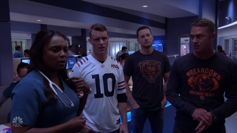 """Chicago Bears Outfits in Chicago Fire Season 8 Episode 4 """"Infection, Part I"""" (2019) - TV Show Product Placement"""
