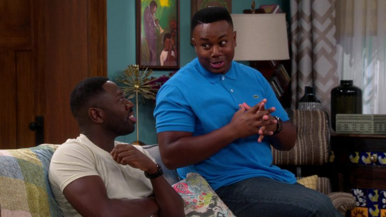 Lacoste Blue Polo Shirt Worn by Marcel Spears as Marty in The Neighborhood Season 2 Episode 5 (1)