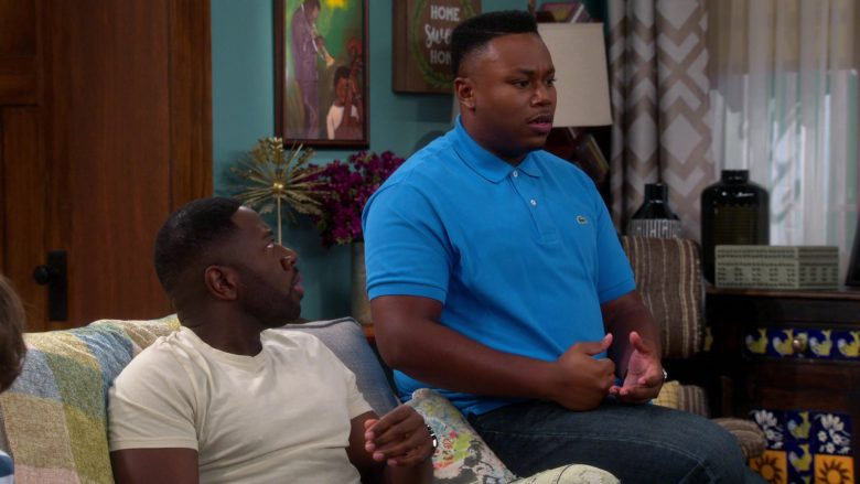 Lacoste Blue Polo Shirt Worn by Marcel Spears as Marty in The Neighborhood Season 2 Episode 5 (2)
