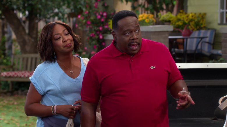 Lacoste Red Polo Shirt Worn by Cedric the Entertainer as Calvin Butler in The Neighborhood (3)