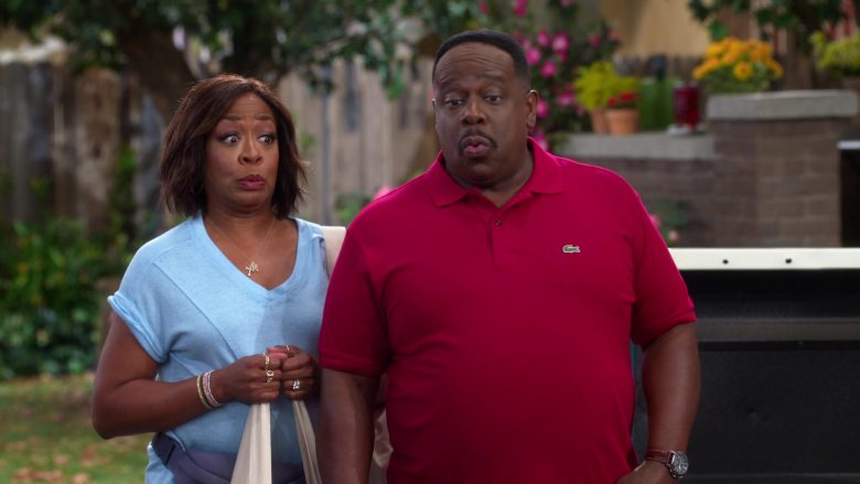 Lacoste Red Polo Shirt Worn by Cedric the Entertainer as Calvin Butler in The Neighborhood (4)