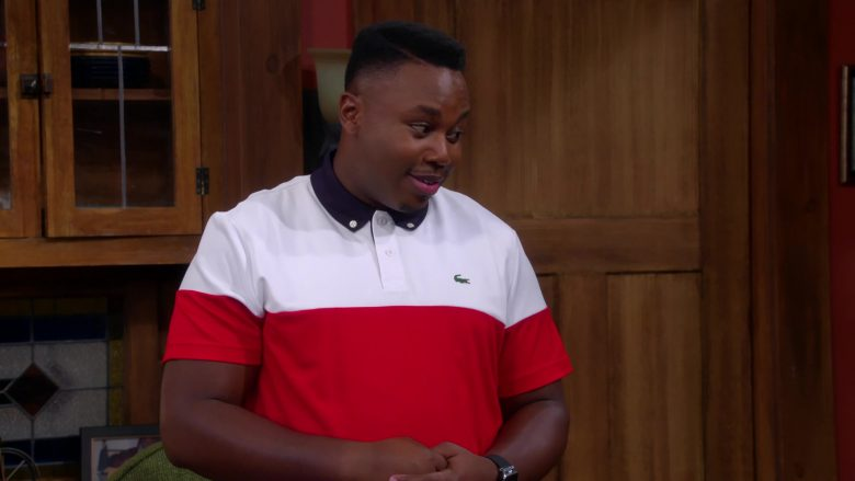 Lacoste White & Red Polo Shirt Worn by Marcel Spears as Martin Lawrence Butler in The Neighborhood
