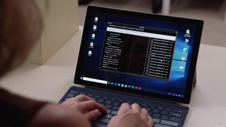 Microsoft Surface Tablet Used by Perdita Weeks as Juliet Higgins in Magnum P.I (1)