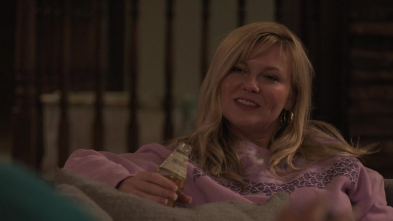 Miller High Life Beer Enjoyed by Kirsten Dunst as Krystal Stubbs in On Becoming a God in Central Florida Season 1 Epi