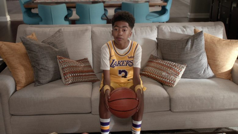 """Nike x Lakers Basketball Outfit Worn by Miles Brown in Black-ish Season 6 Episode 6 """"Everybody Blames Raymond"""" (2019) TV Show"""