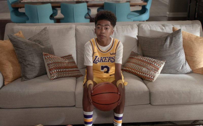 Nike x Lakers Basketball Outfit Worn by Miles Brown in Black-ish Season 6 Episode 6