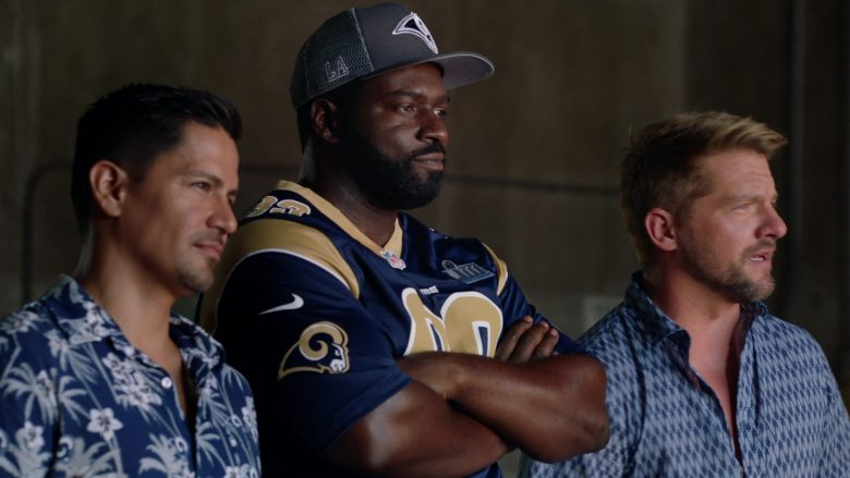 "Nike x Los Angeles Rams Jersey Worn by Stephen Hill as Theodore 'TC' Calvin in Magnum P.I. Season 2 Episode 4 ""Dead Inside"" (2019) - TV Show Product Placement"