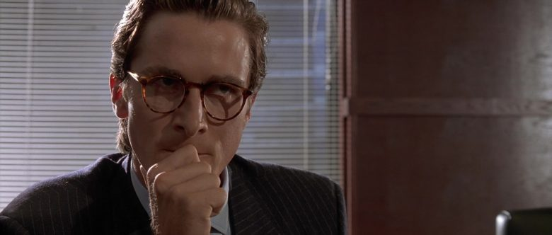 Oliver Peoples Glasses Worn by Christian Bale as Patrick Bateman in American Psycho (2000) - Movie Product Placement