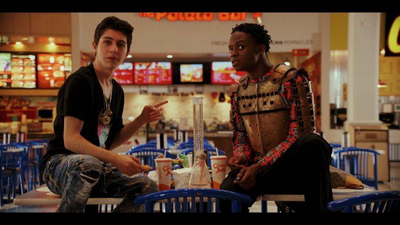 Orange Julius Drinks Enjoyed by Gregory Kasyan as Eli Cardashyan & Austin Crute as Wesley Fists in Daybreak Season 1 Epis
