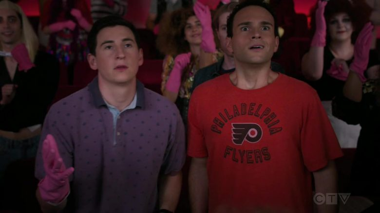 "Philadelphia Flyers T-Shirt Worn by Troy Gentile as Barry in The Goldbergs Season 7 Episode 6 ""A 100% True Ghost Story"" (2019) - TV Show Product Placement"