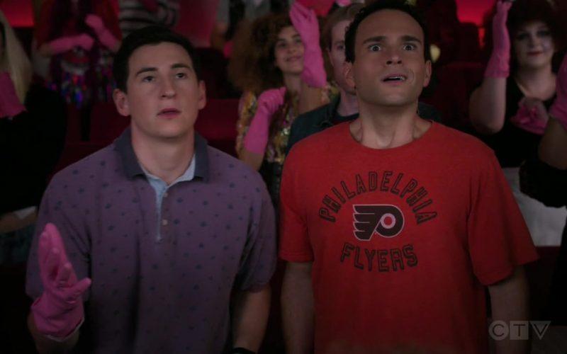 Philadelphia Flyers Ice Hockey Team T-Shirt Worn by Troy Gentile as Barry in The Goldbergs Season 7 Episode 6 (1)
