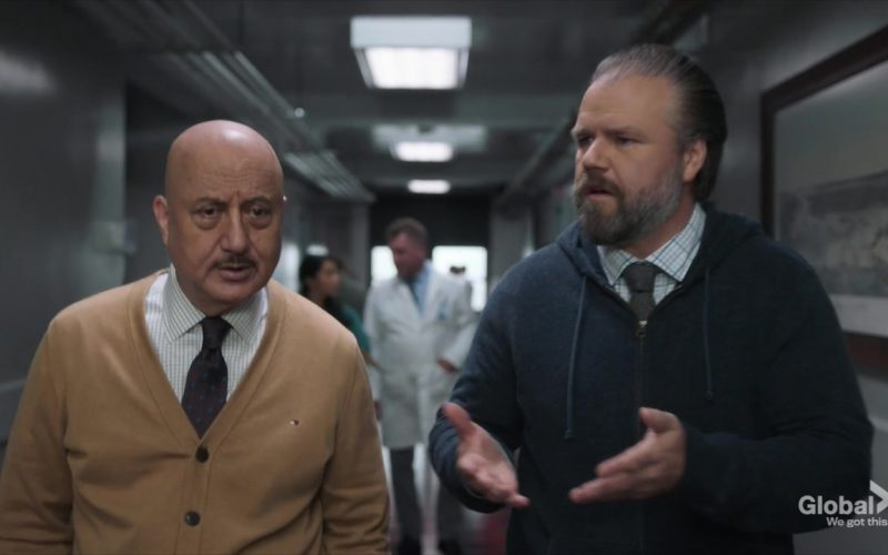Tommy Hilfiger Cardigan Worn by Anupam Kher as Dr. Vijay Kapoor in New Amsterdam Season 2 Episode 4 (1)