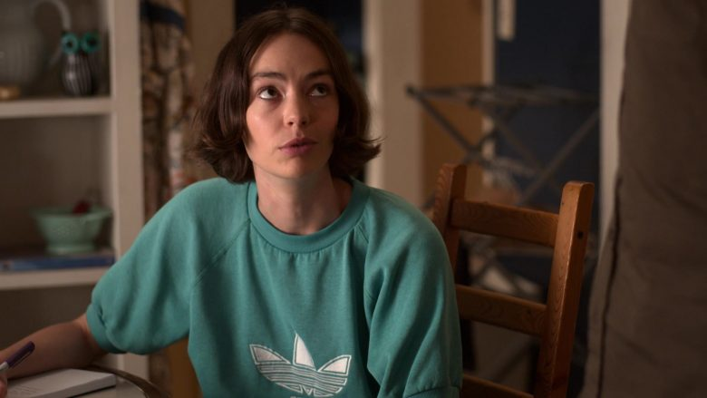 """Adidas Women's Short Sleeve Green Sweatshirt Worn by Brigette Lundy-Paine as Casey Gardner in Atypical Season 3 Episode 10 """"Searching for Brown Sugar Man"""" (2019) - TV Show Product Placement"""