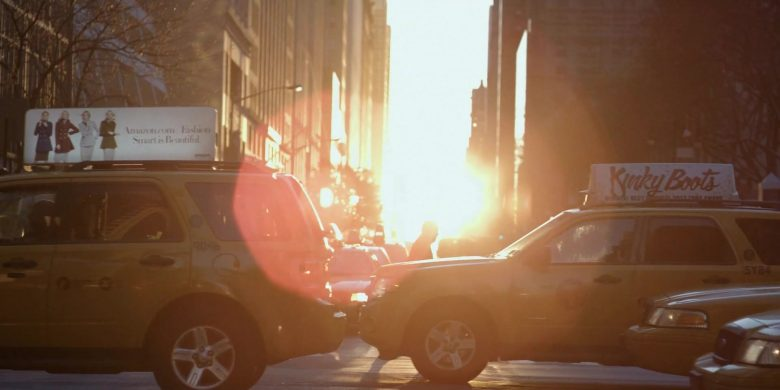 Amazon.com and Kinky Boots Broadway Musical Taxi Advertising in The Morning Show Season 1 Episode 3