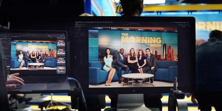 """Apple MacBook Pro Laptop and Apple Display in The Morning Show Season 1 Episode 7 """"Open Waters"""" (2019) TV Show"""