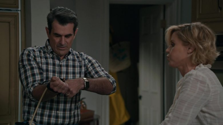 "Apple Watch Smartwatch Worn by Ty Burrell as Phil Dunphy in Modern Family Season 11 Episode 6 ""A Game of Chicken"" (2019) - TV Show Product Placement"
