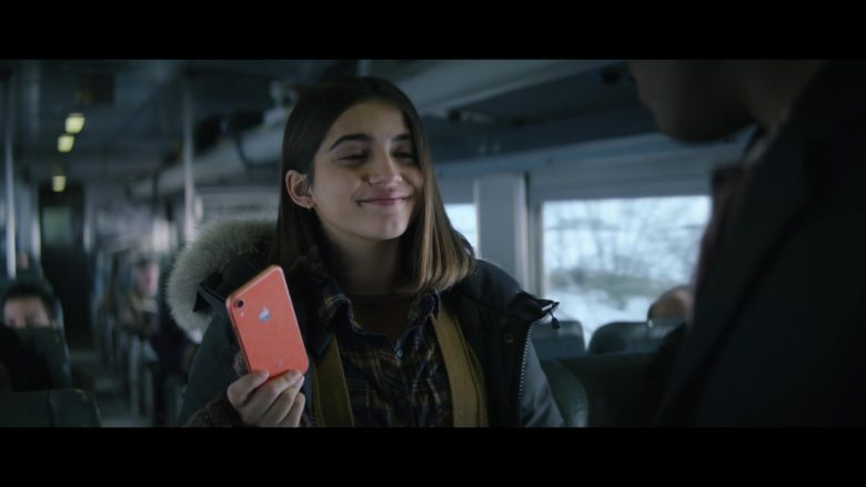 Apple iPhone Orange Mobile Phone in Let It Snow (2019) - Movie Product Placement
