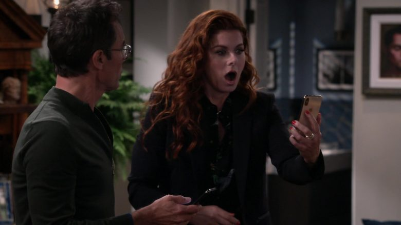 "Apple iPhone Smartphone Used by Debra Messing in Will & Grace Season 11 Episode 3 ""With Enemies Like These"" (2019) - TV Show Product Placement"