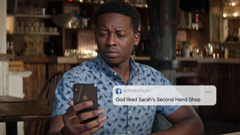 Apple iPhone and Facebook Used by Brandon Micheal Hall as Miles Finer in God Friended Me Season 2 Episode 7 (1)