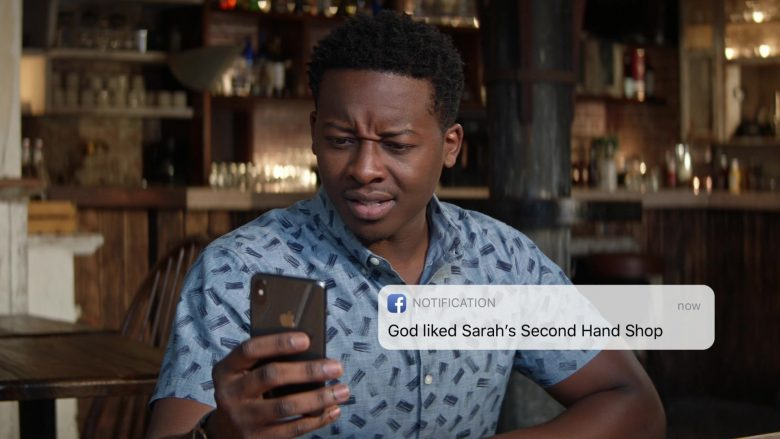Apple iPhone and Facebook Used by Brandon Micheal Hall as Miles Finer in God Friended Me Season 2 Episode 7 (2)