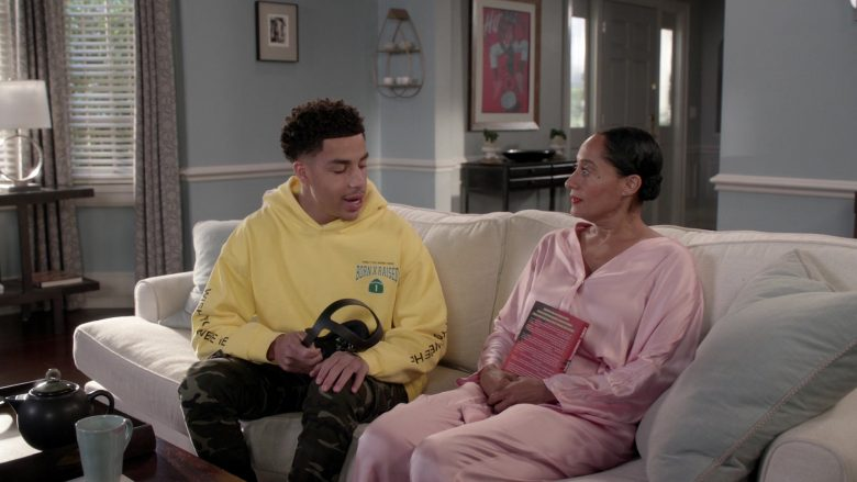 "BornxRaised Yellow Hoodie Worn by Marcus Scribner in Black-ish Season 6 Episode 8 ""O Mother Where Art Thou?"" (2019) - TV Show Product Placement"